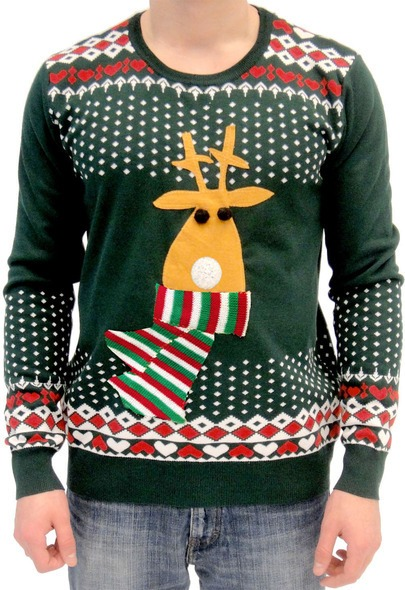 Flashing Rudolph Nose Christmas Jumper