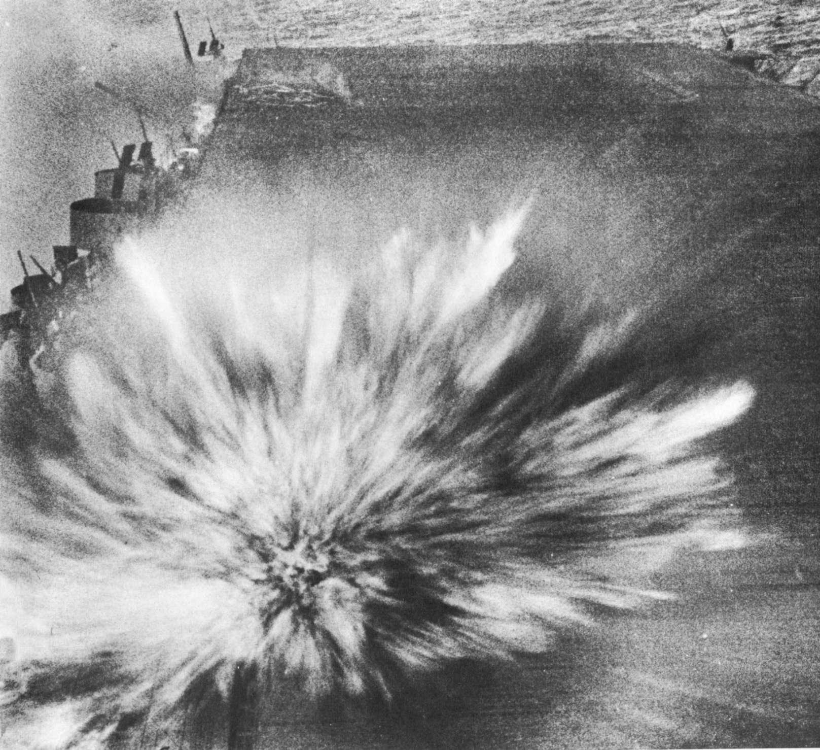 japanese bomb hits deck of uss enterprise, 1942