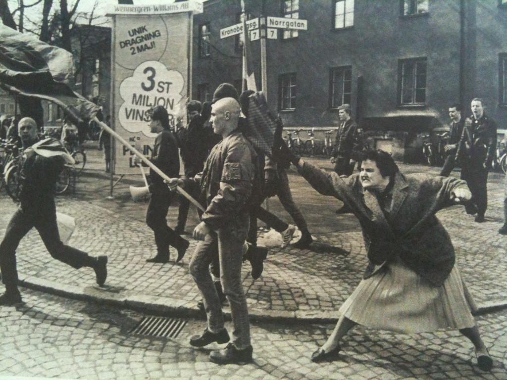woman hits skinhead, sween 1985