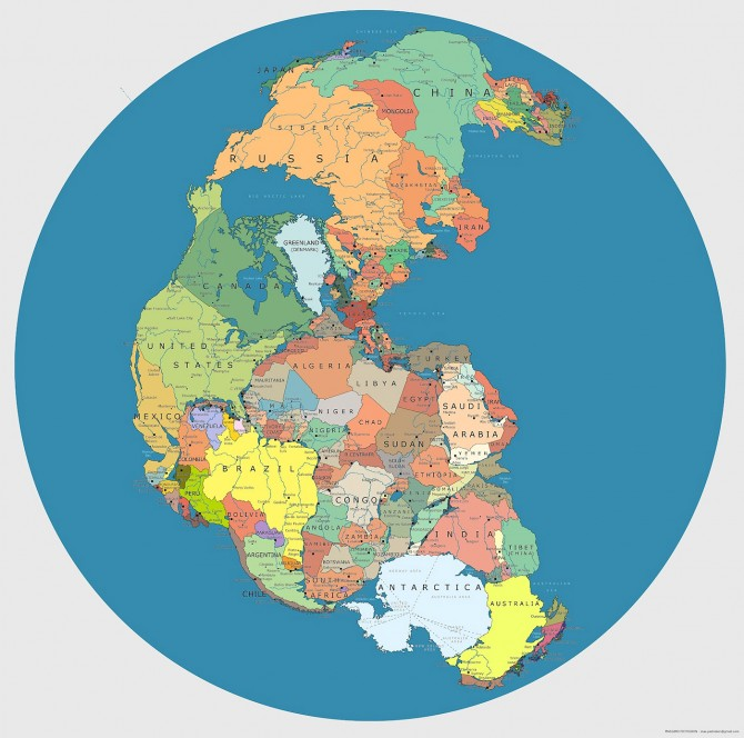 Pangea Modern Geopolitical Borders