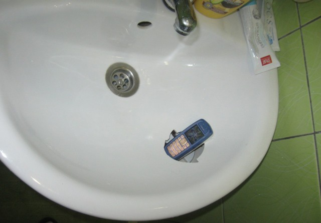 Russia With Love - Phone in sink