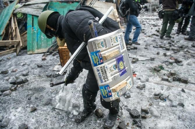 Ukraine Handmade Weapons - Barricades - Shovel Shield