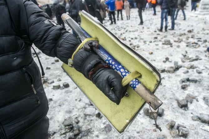 Ukraine Handmade Weapons - Shovel shield and stick