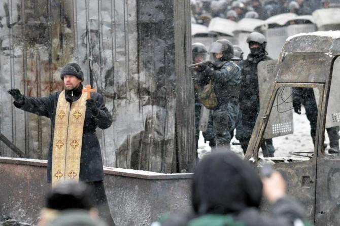 Ukraine Naked Protestor - Priest