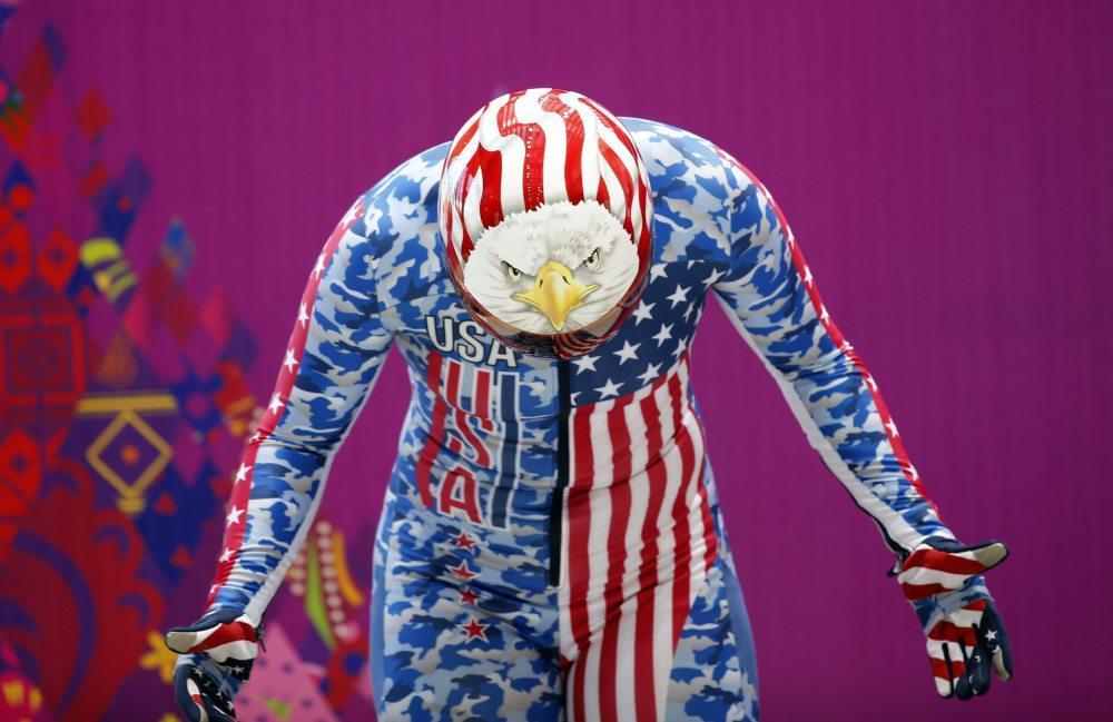 Katie Uhlaender of the U.S. gets ready during a women's skeleton training session at the Sanki sliding center in Rosa Khutor