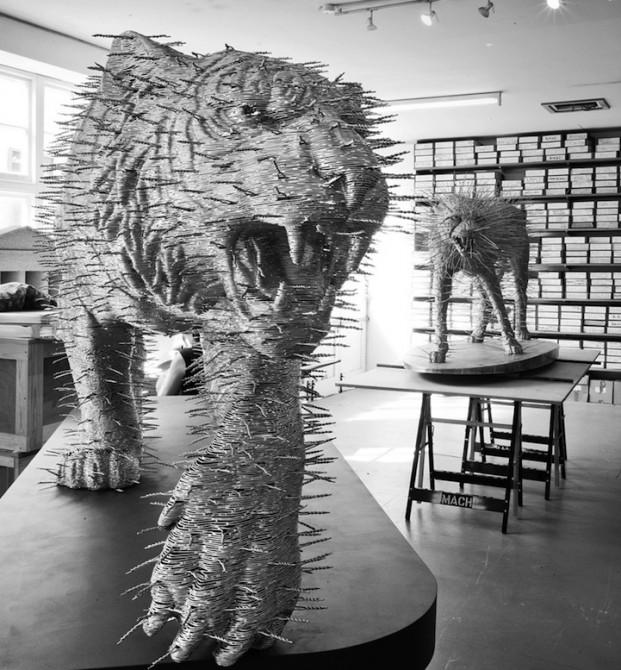 David Mach - Coathanger Art - Tiger