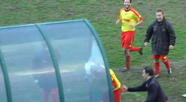 Italian Footballer Celebrates Smashing Head Through Glass Dugout