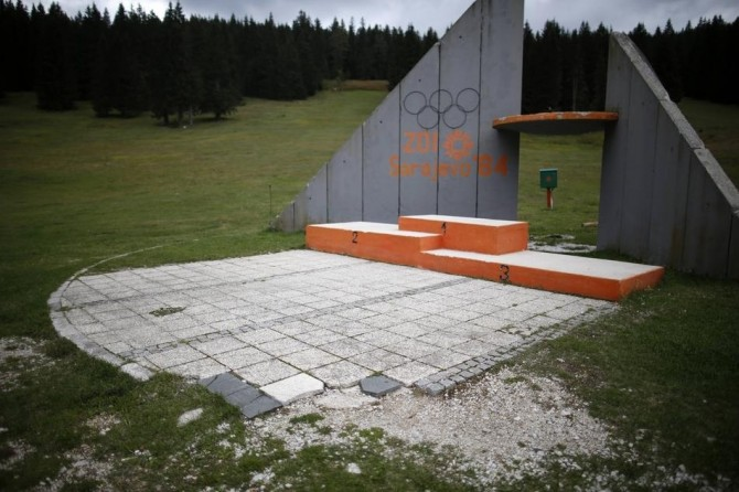 Sarajevo Winter Olympics - Abandoned - medals podium