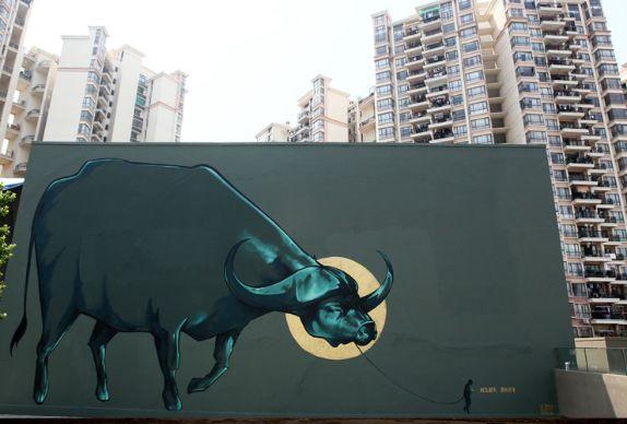 African Street Art -  buffalo