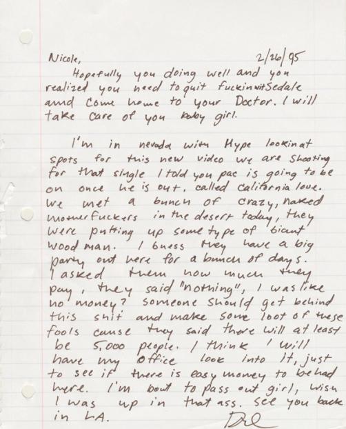 Dr Dre Girlfriend's Letter