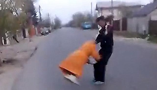 Romanian Thug Swings Grandma By Her Hair