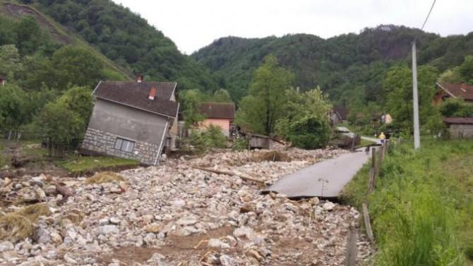 Serbia Bosnia Floods - town