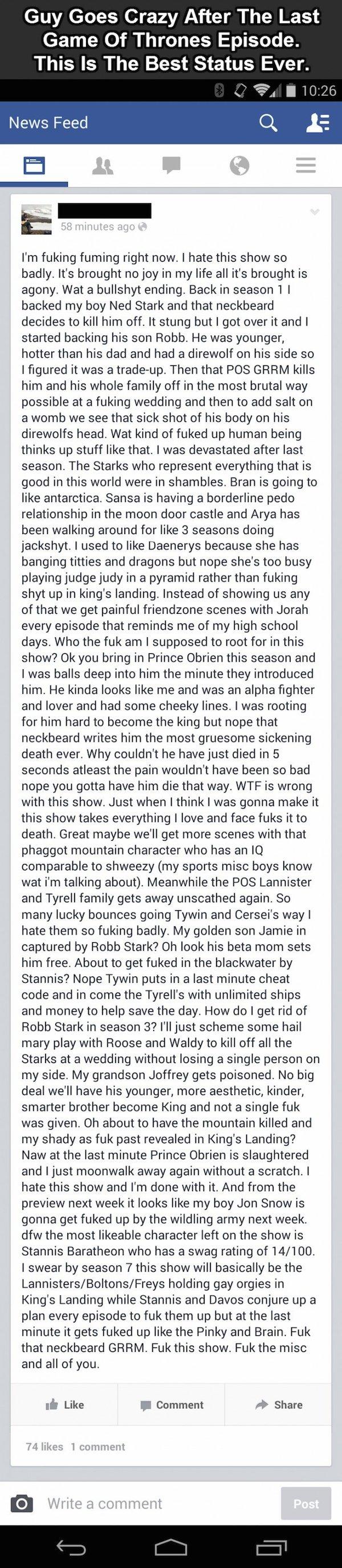 Insane Game Of Thrones Facebook Status Update