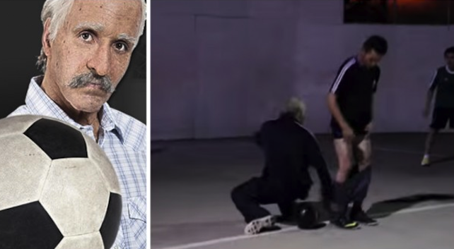 World Champion Freestyle Footballer Dresses Up As Old Man