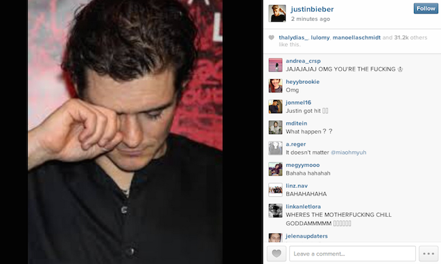 Justin Bieber Orlando Bloom Instagram Picture