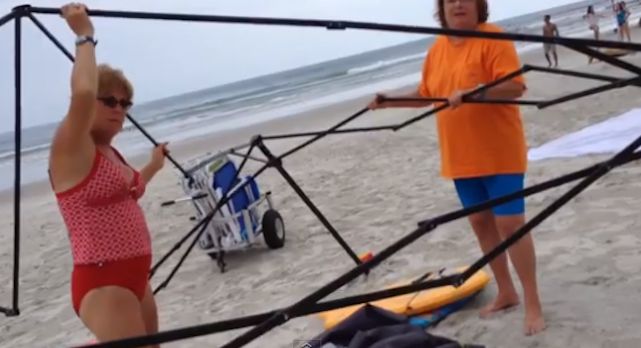 Middle Aged Women Steal Stuff Off Beach