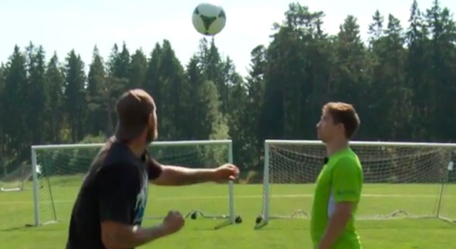 Heavyweight Boxer Shows Goalkeeper How To Punch