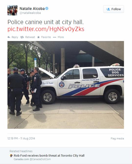 Rob Ford Bomb Threat Tweet