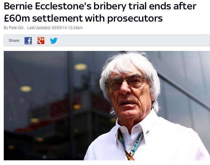 Bernie Eccleston F1 Bribery CHarges