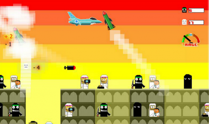 screen shot of the game play of bomb Gaza.