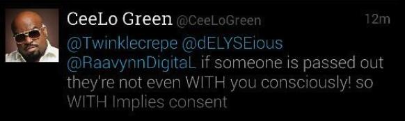 CeeLo Green Rape Tweet 1