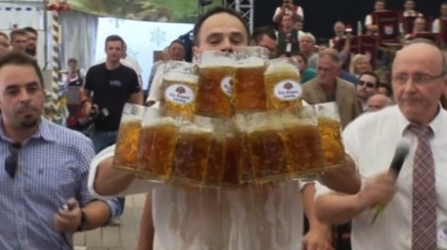 German Waiter Carrying Beers