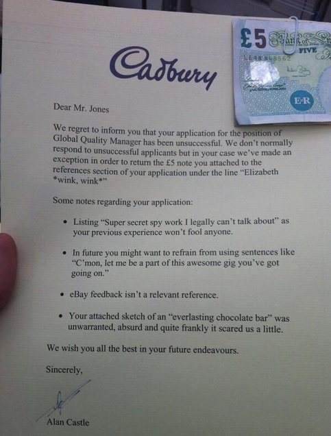 Cadbury Rejection Letter