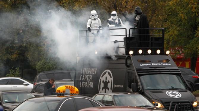 Darth Vader Ukraine with storm troopers