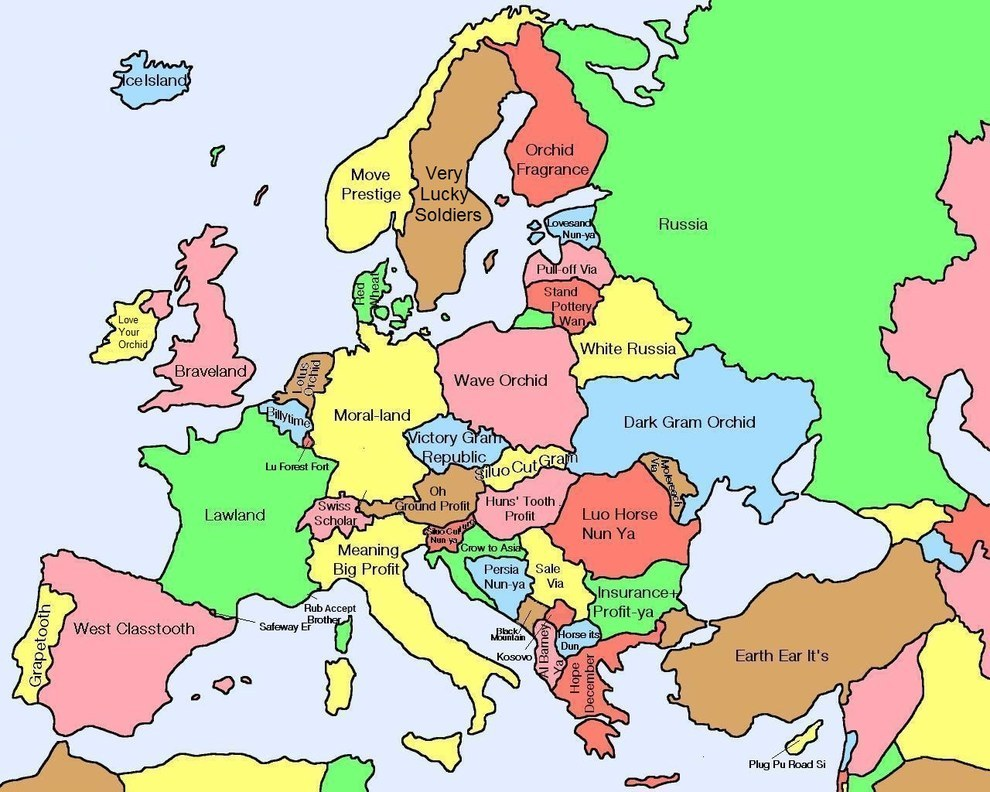 Here's A Map Of European Countries With Their Literal ...