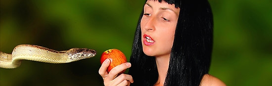 Eve tempted by snake with apple