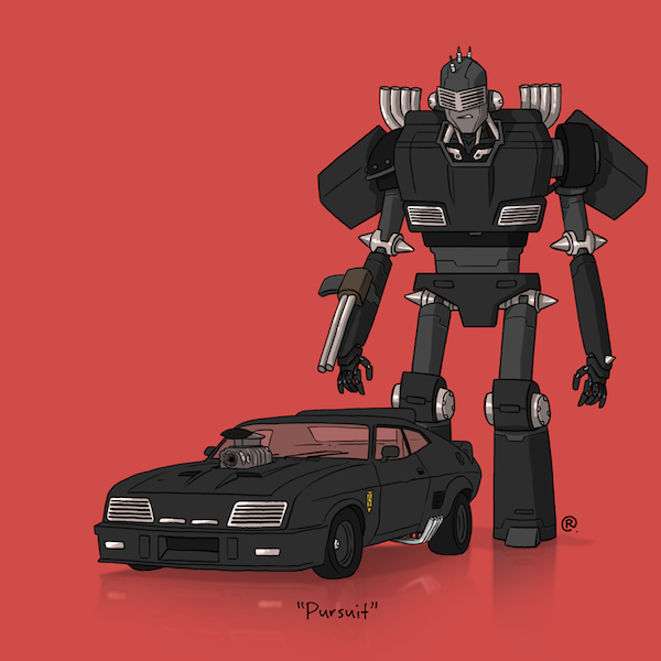artist depicts famous movie cars as if they were