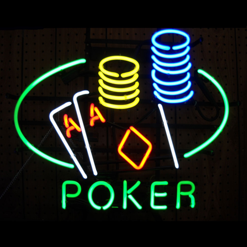 Neon Poker Table Sign.