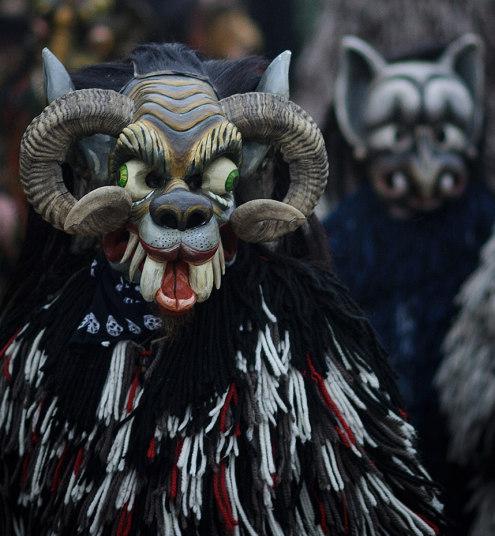 Perchten pagan festival in Germany - animals