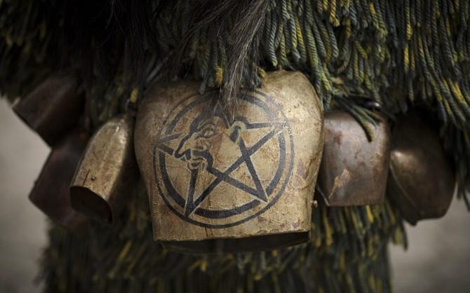 Perchten pagan festival in Germany - bell