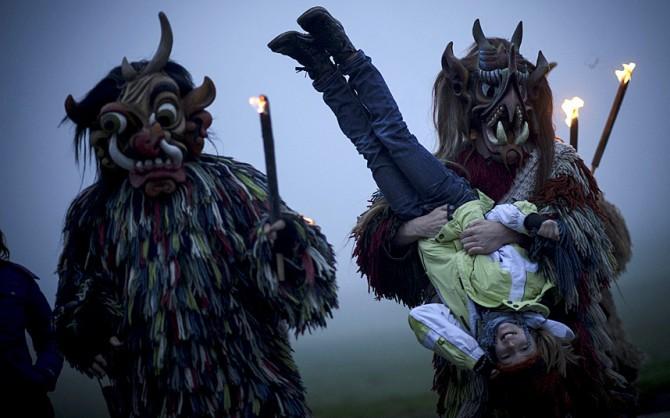 Perchten pagan festival in Germany - children