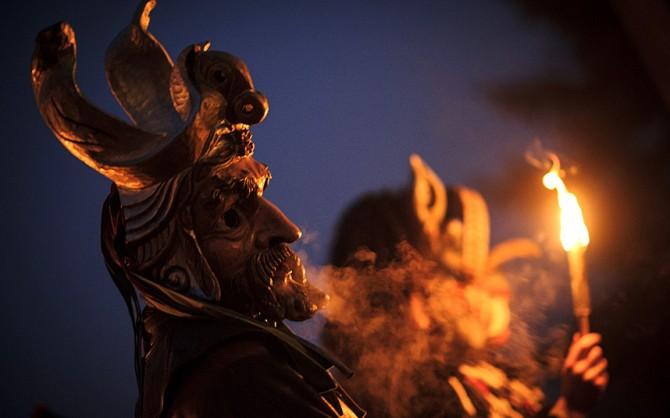 Perchten pagan festival in Germany - fire