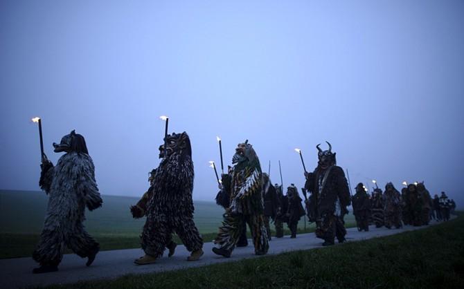 Perchten pagan festival in Germany - ghost busters