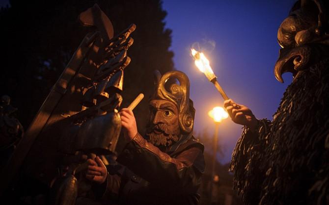 Perchten pagan festival in Germany - more fire