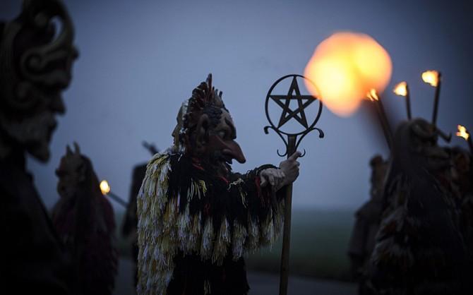 Perchten pagan festival in Germany - pentacle