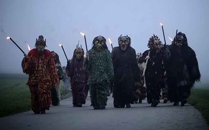 Perchten pagan festival in Germany - scary