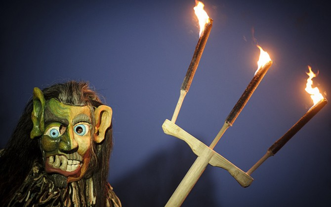 Perchten pagan festival in Germany - trident