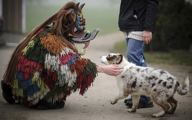 Perchten pagan festival in Germany - with dog