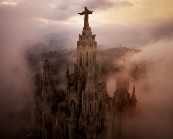Best Drone Photos - Temple Expiatori del Sagrat Cor Church in Barcelona
