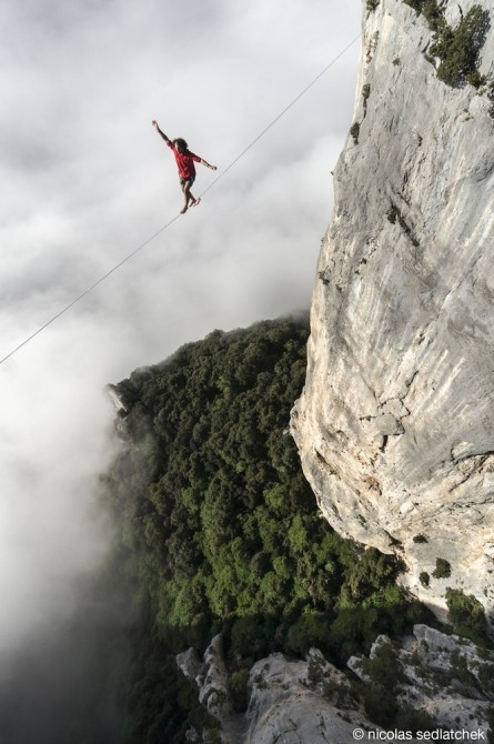 Best Drone Photos - Theo Sanson walks on a 280 feet long highline at 980 feet of altitude in Les Gorges Du Verdon in France