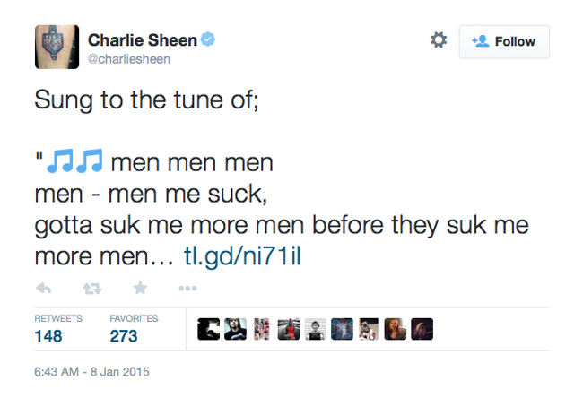 Charlie Sheen Two And A Half Men Tweet 1