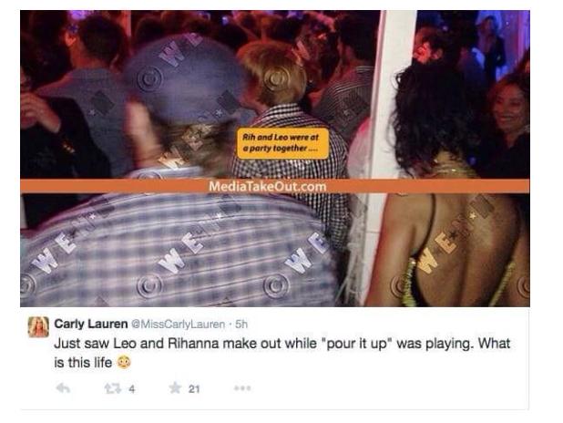 Leonardo DiCaprio Rihanna Tweet
