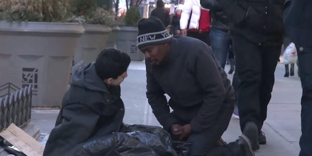 Homeless Man Freezing Kid