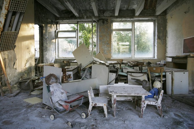 Chernobyl, Exclusion Zone, Ukraine. Dolls tea party. Maternity Hospital. Pripyat Town built 15 years before the Chernobyl reactor fire. The whole town was evacuated shortly after. The Chernobyl Reactor, towns, plant and environs just before the 20th ann