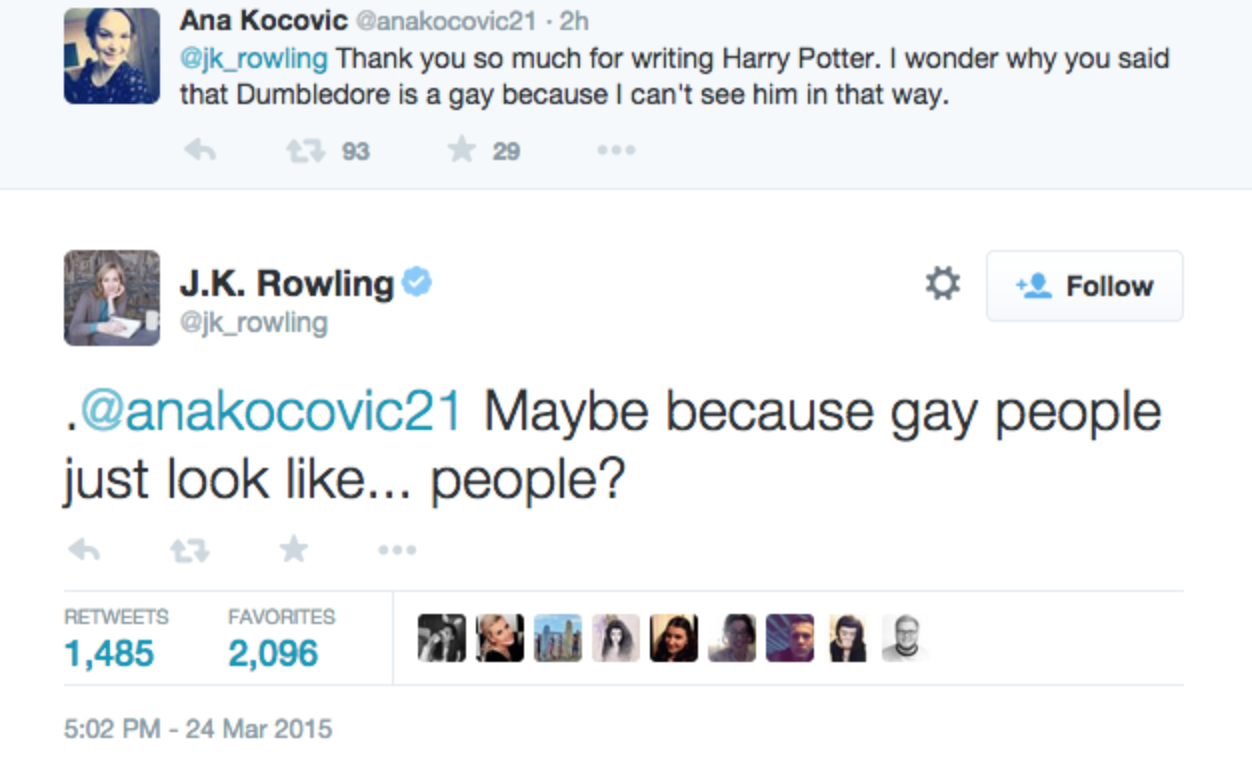 from Derek rowling dumbledore gay