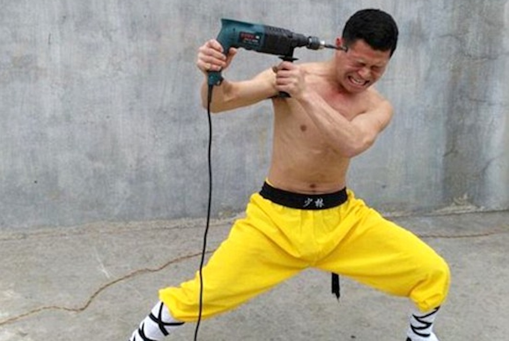 Shaolin Monk Drilling Himself